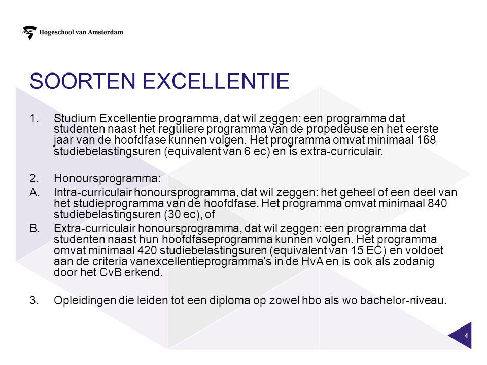 SOORTEN EXCELLENTIE 1.Studium Excellentie programma, dat wil zeggen: een programma dat studenten naast het reguliere programma van de propedeuse en he