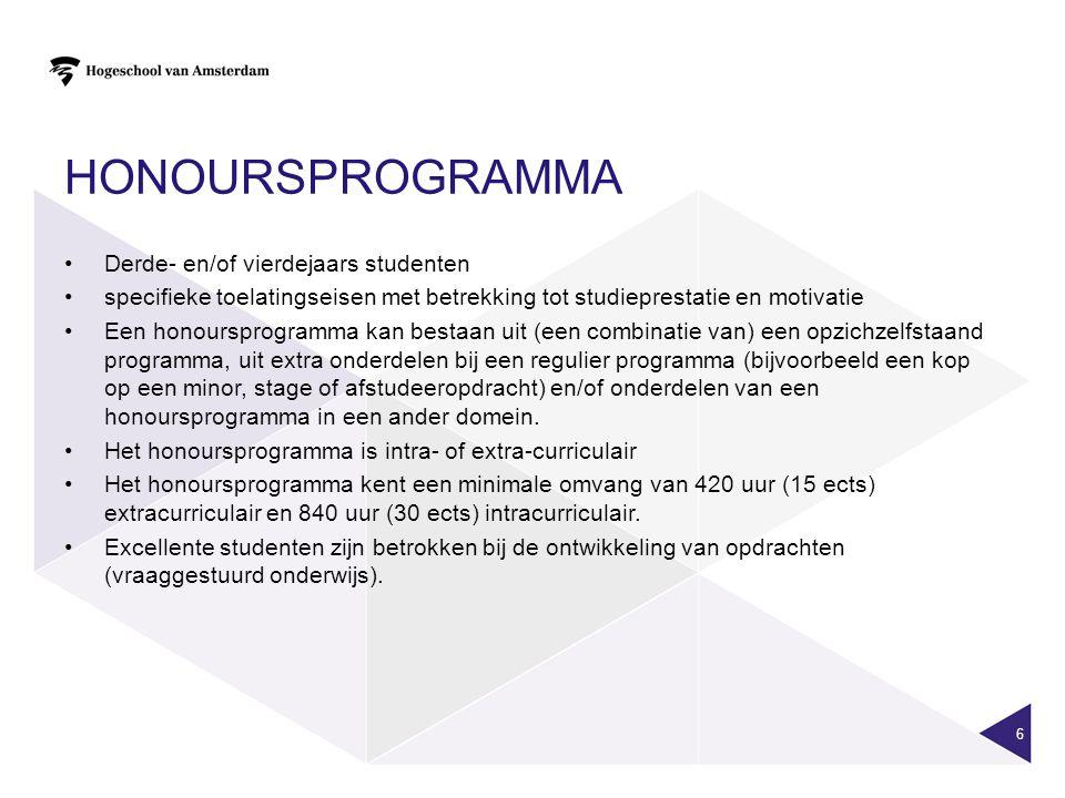 HONOURSPROGRAMMA Derde- en/of vierdejaars studenten specifieke toelatingseisen met betrekking tot studieprestatie en motivatie Een honoursprogramma ka