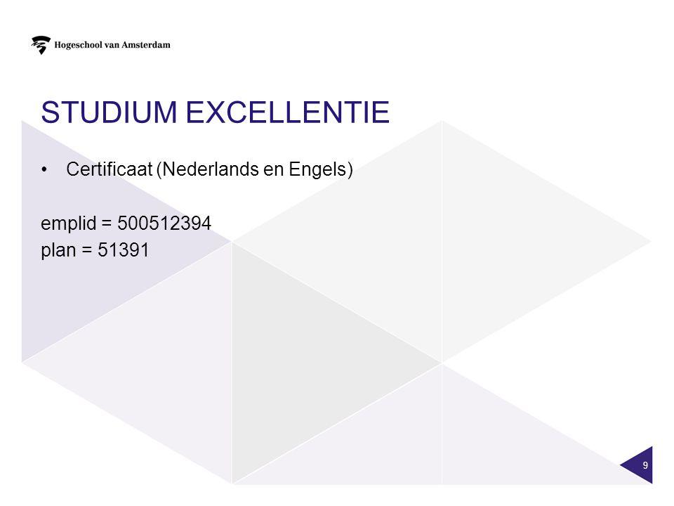STUDIUM EXCELLENTIE Certificaat (Nederlands en Engels) emplid = 500512394 plan = 51391 9