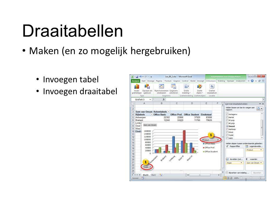 Draaitabellen Maken (en zo mogelijk hergebruiken) Invoegen tabel Invoegen draaitabel