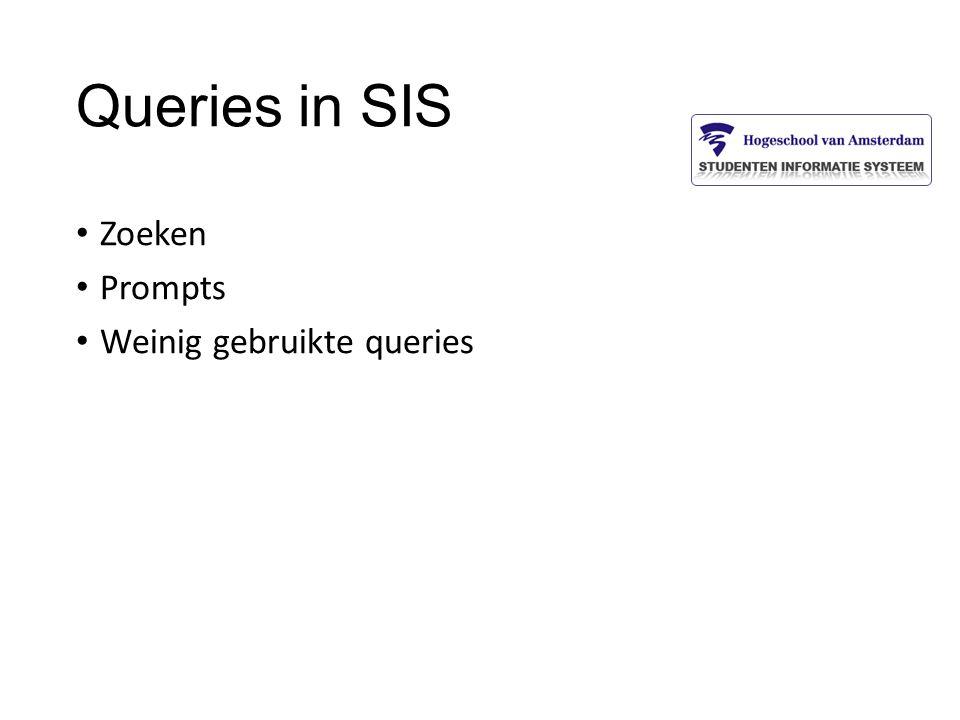 Queries in SIS Zoeken Prompts Weinig gebruikte queries