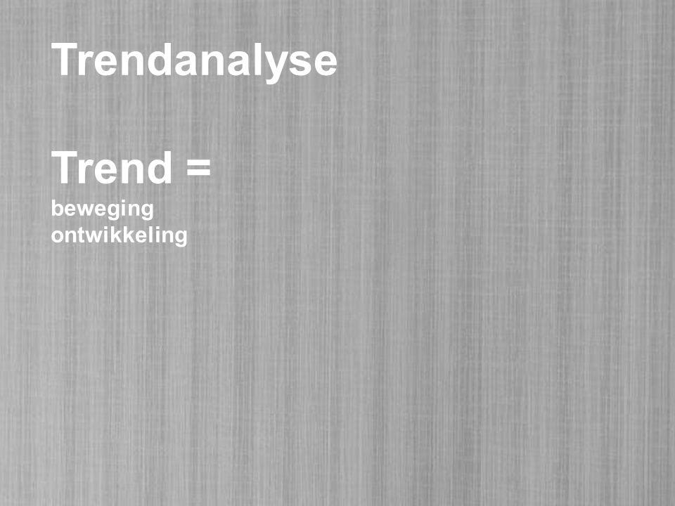 Trendanalyse Trend = beweging ontwikkeling