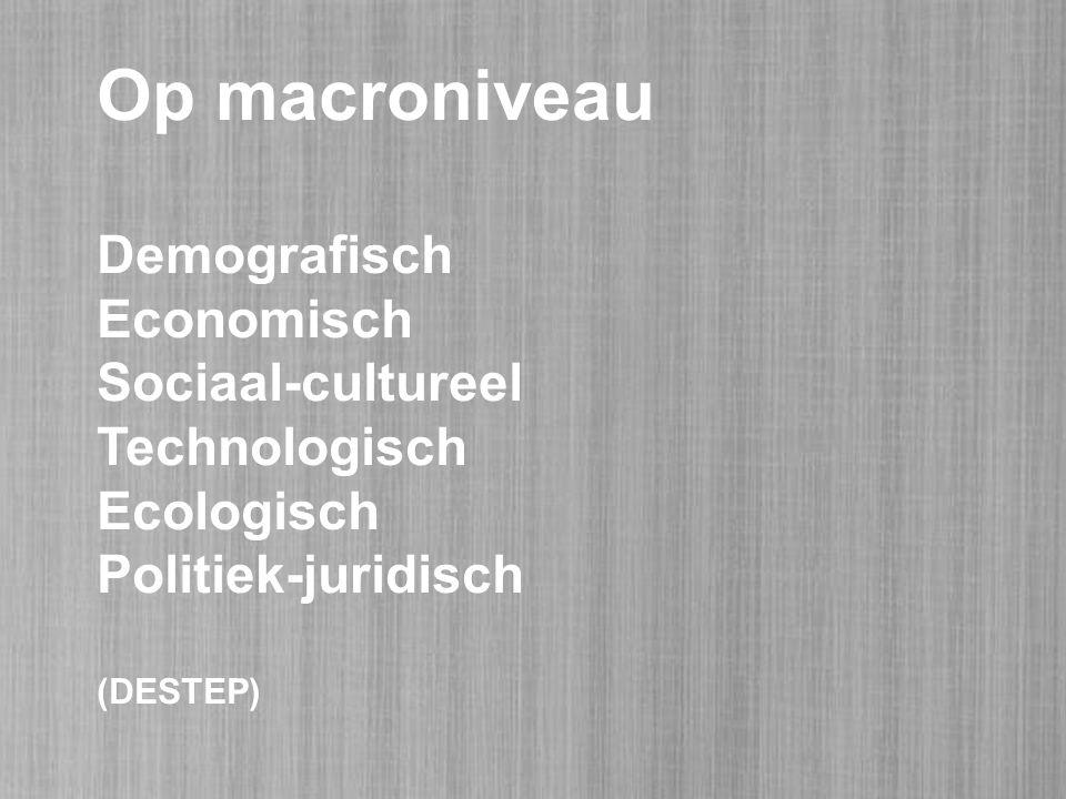 Op macroniveau Demografisch Economisch Sociaal-cultureel Technologisch Ecologisch Politiek-juridisch (DESTEP)