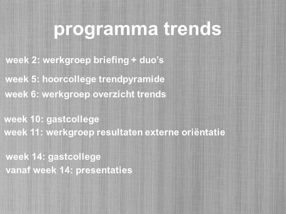 programma trends week 5: hoorcollege trendpyramide week 6: werkgroep overzicht trends week 10: gastcollege week 11: werkgroep resultaten externe oriëntatie week 14: gastcollege week 2: werkgroep briefing + duo's vanaf week 14: presentaties