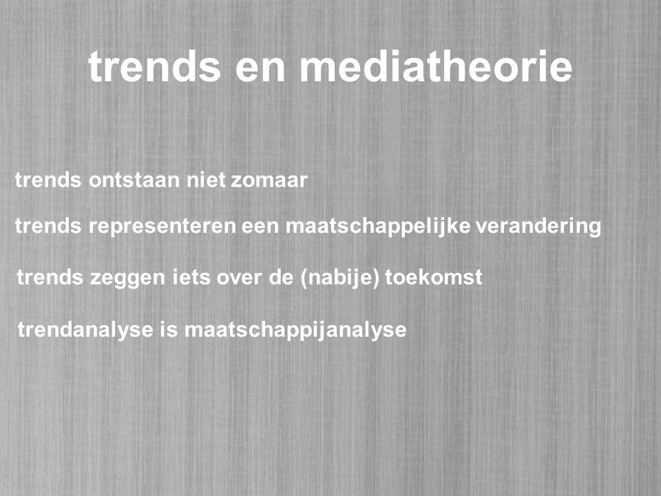 trends en mediatheorie trends ontstaan niet zomaar trends zeggen iets over de (nabije) toekomst trendanalyse is maatschappijanalyse trends representeren een maatschappelijke verandering
