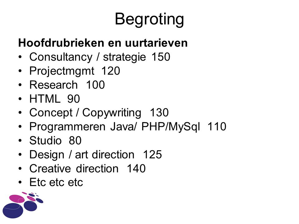 Begroting Hoofdrubrieken en uurtarieven Consultancy / strategie 150 Projectmgmt 120 Research 100 HTML 90 Concept / Copywriting 130 Programmeren Java/ PHP/MySql 110 Studio 80 Design / art direction 125 Creative direction 140 Etc etc etc