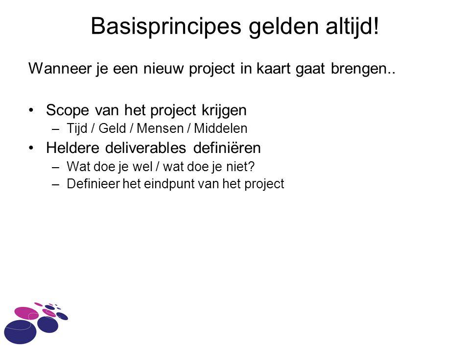 Basisprincipes gelden altijd.Wanneer je een nieuw project in kaart gaat brengen..