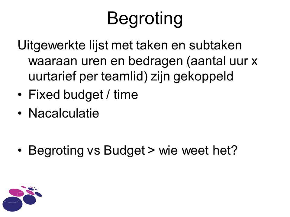 Begroting Uitgewerkte lijst met taken en subtaken waaraan uren en bedragen (aantal uur x uurtarief per teamlid) zijn gekoppeld Fixed budget / time Nacalculatie Begroting vs Budget > wie weet het