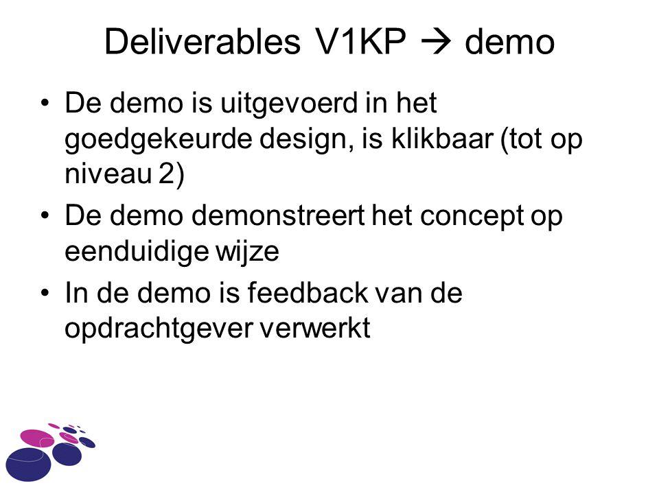 Deliverables V1KP  demo De demo is uitgevoerd in het goedgekeurde design, is klikbaar (tot op niveau 2) De demo demonstreert het concept op eenduidige wijze In de demo is feedback van de opdrachtgever verwerkt