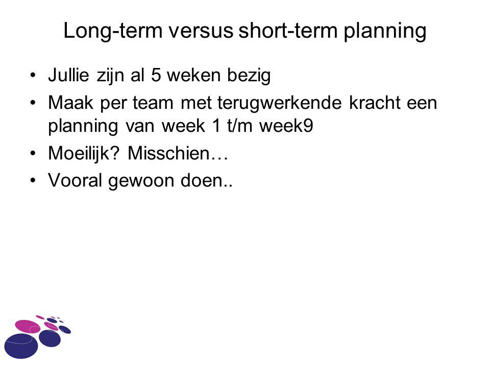 Long-term versus short-term planning Jullie zijn al 5 weken bezig Maak per team met terugwerkende kracht een planning van week 1 t/m week9 Moeilijk.