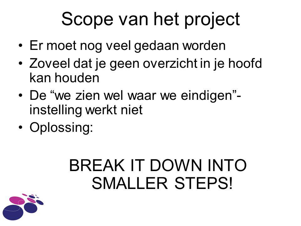 Scope van het project Er moet nog veel gedaan worden Zoveel dat je geen overzicht in je hoofd kan houden De we zien wel waar we eindigen - instelling werkt niet Oplossing: BREAK IT DOWN INTO SMALLER STEPS!