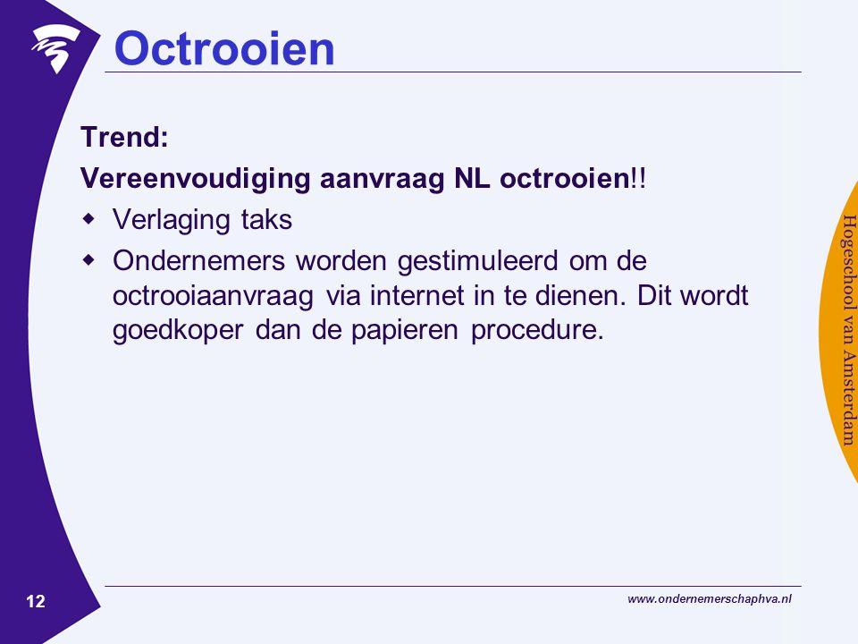 www.ondernemerschaphva.nl 12 Octrooien Trend: Vereenvoudiging aanvraag NL octrooien!.