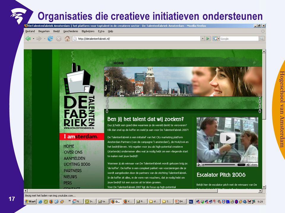 www.ondernemerschaphva.nl 17 Organisaties die creatieve initiatieven ondersteunen
