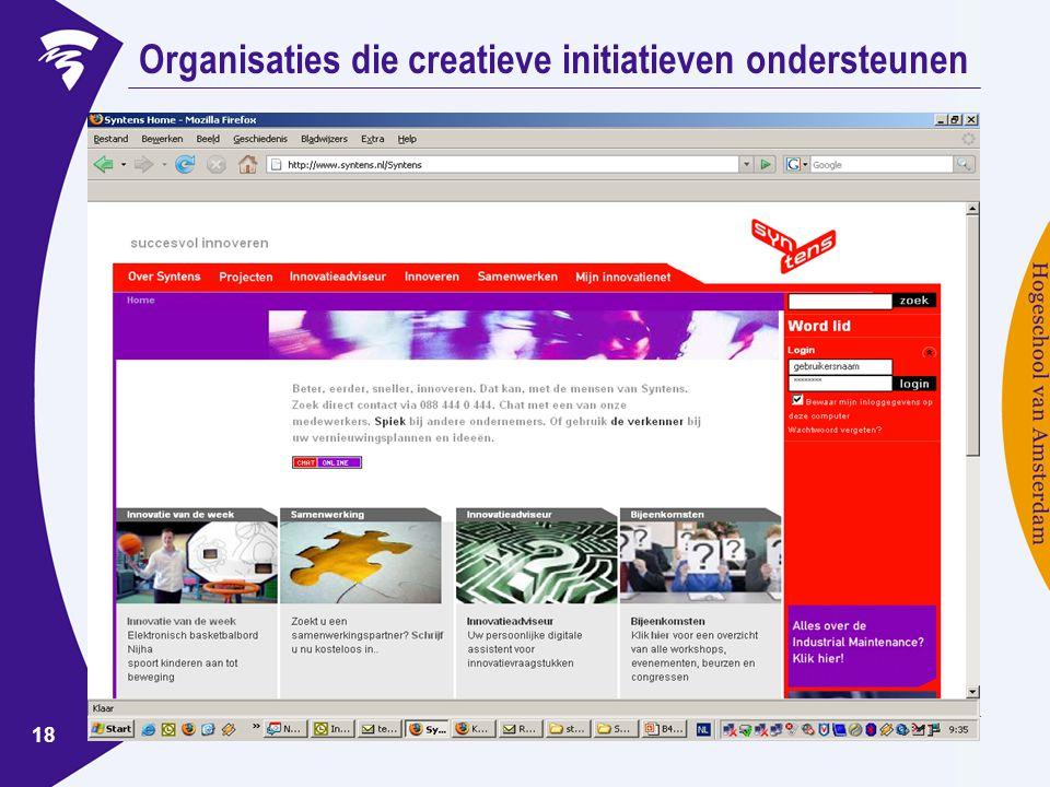 www.ondernemerschaphva.nl 18 Organisaties die creatieve initiatieven ondersteunen