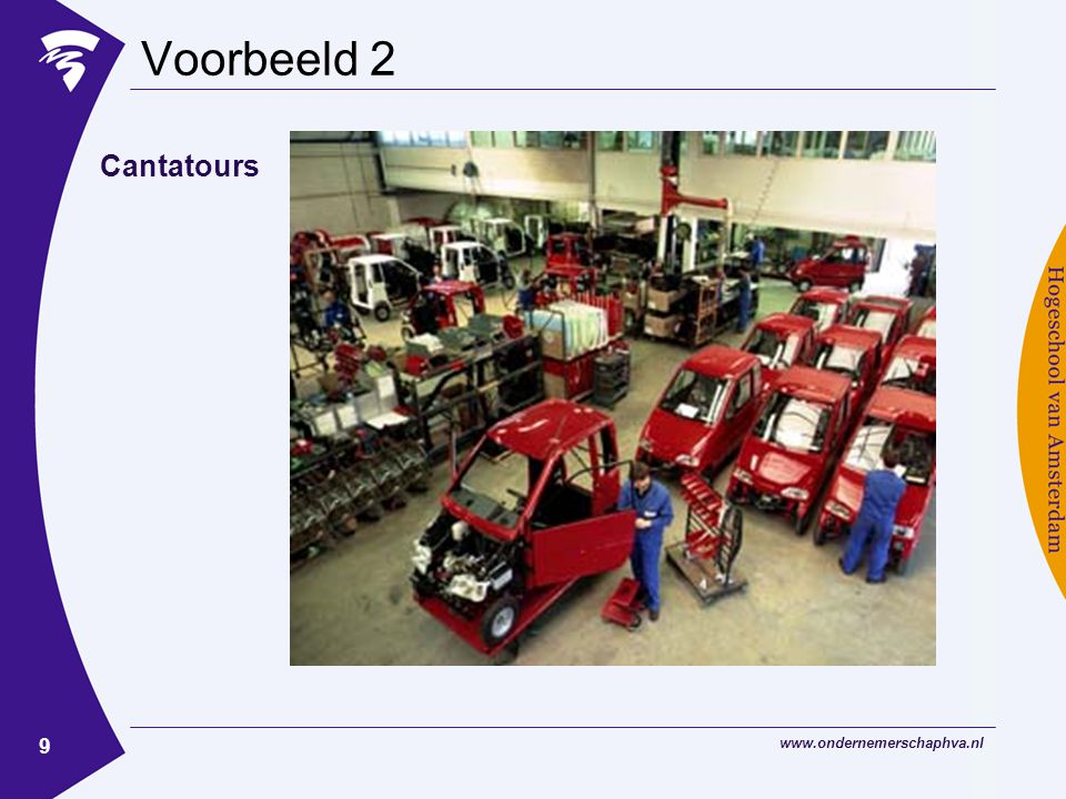www.ondernemerschaphva.nl 9 Voorbeeld 2 Cantatours