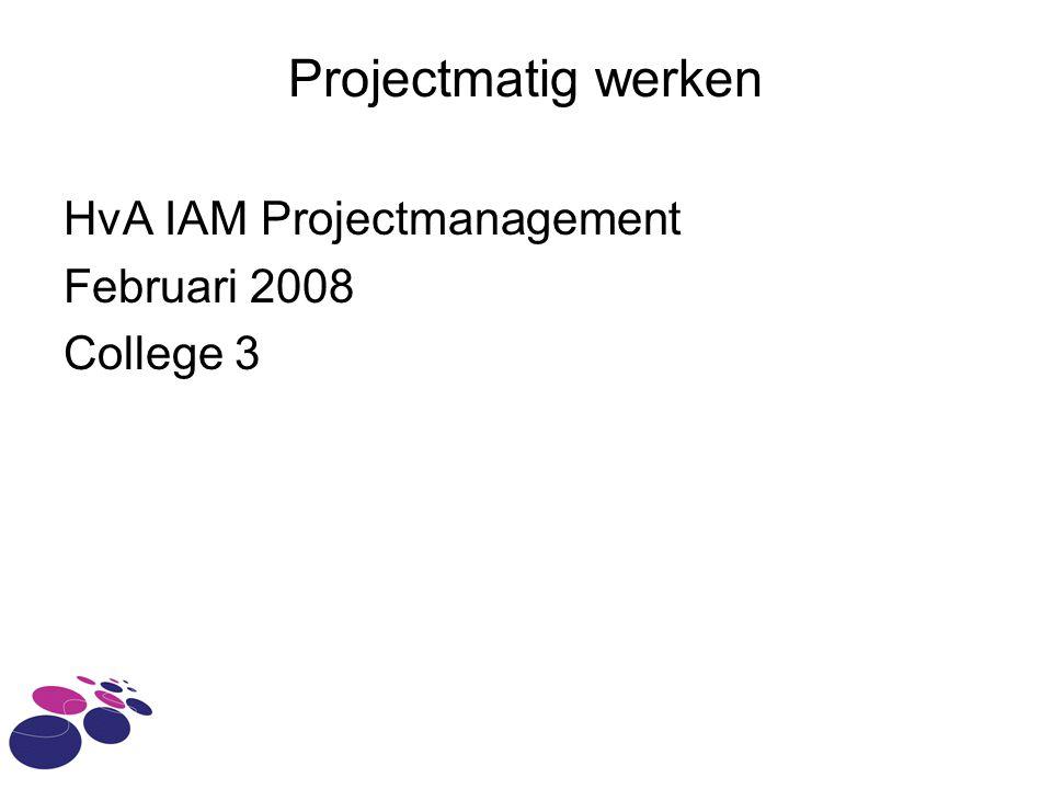 Projectmatig werken HvA IAM Projectmanagement Februari 2008 College 3
