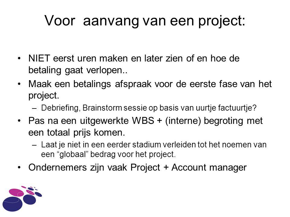 Voor aanvang van een project: NIET eerst uren maken en later zien of en hoe de betaling gaat verlopen..