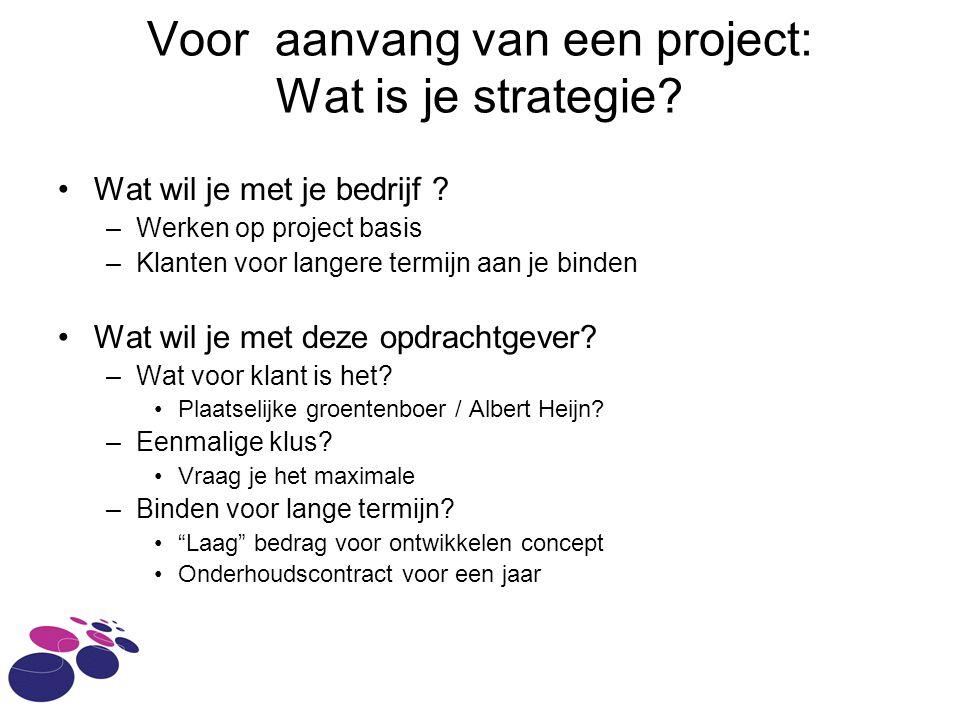 Voor aanvang van een project: Wat is je strategie.