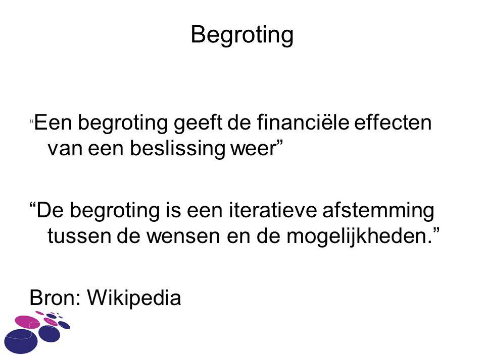Begroting Een begroting geeft de financiële effecten van een beslissing weer De begroting is een iteratieve afstemming tussen de wensen en de mogelijkheden. Bron: Wikipedia