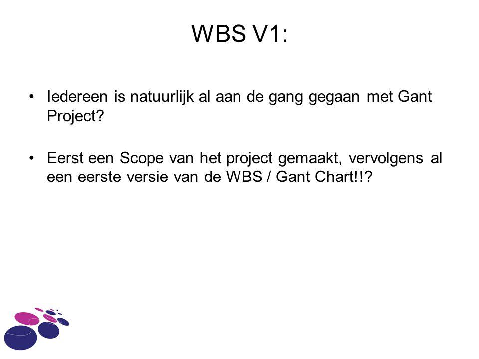 WBS V1: Iedereen is natuurlijk al aan de gang gegaan met Gant Project.
