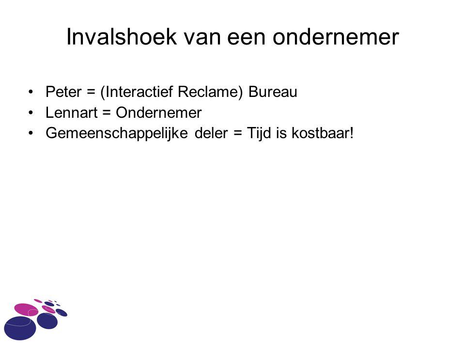 Invalshoek van een ondernemer Peter = (Interactief Reclame) Bureau Lennart = Ondernemer Gemeenschappelijke deler = Tijd is kostbaar!