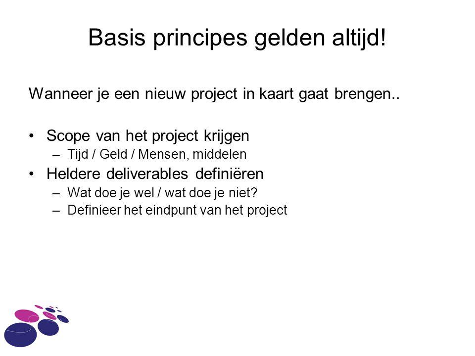 Basis principes gelden altijd. Wanneer je een nieuw project in kaart gaat brengen..