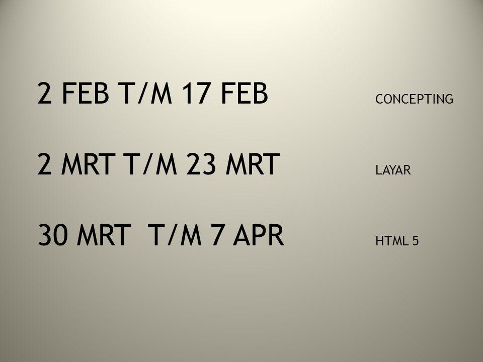 2 FEB T/M 17 FEB CONCEPTING 2 MRT T/M 23 MRT LAYAR 30 MRT T/M 7 APR HTML 5