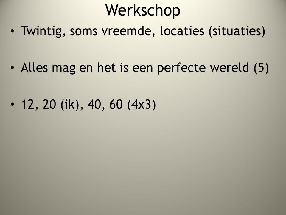 Werkschop Twintig, soms vreemde, locaties (situaties) Alles mag en het is een perfecte wereld (5) 12, 20 (ik), 40, 60 (4x3)