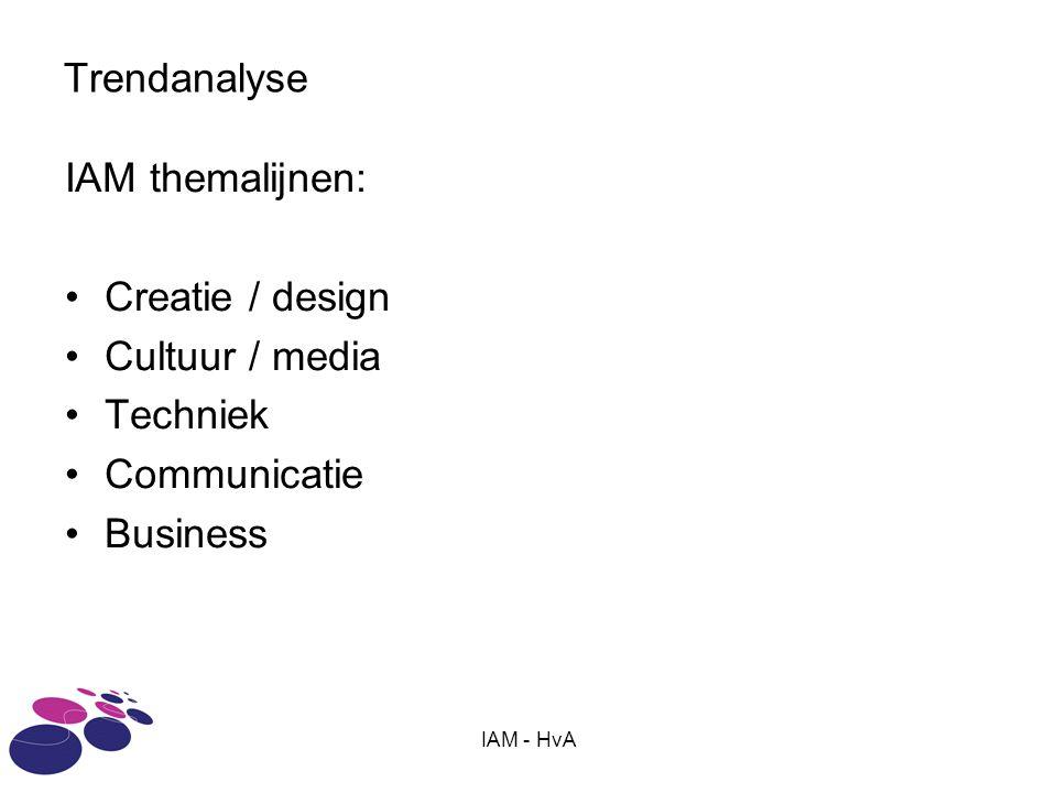 IAM - HvA Trendanalyse IAM themalijnen: Creatie / design Cultuur / media Techniek Communicatie Business