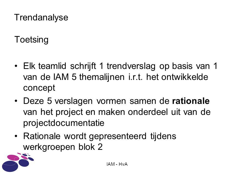 IAM - HvA Trendanalyse Toetsing Elk teamlid schrijft 1 trendverslag op basis van 1 van de IAM 5 themalijnen i.r.t.