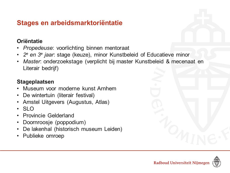 Stages en arbeidsmarktoriëntatie Oriëntatie Propedeuse: voorlichting binnen mentoraat 2 e en 3 e jaar: stage (keuze), minor Kunstbeleid of Educatieve