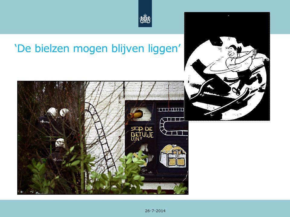'De bielzen mogen blijven liggen' 26-7-2014