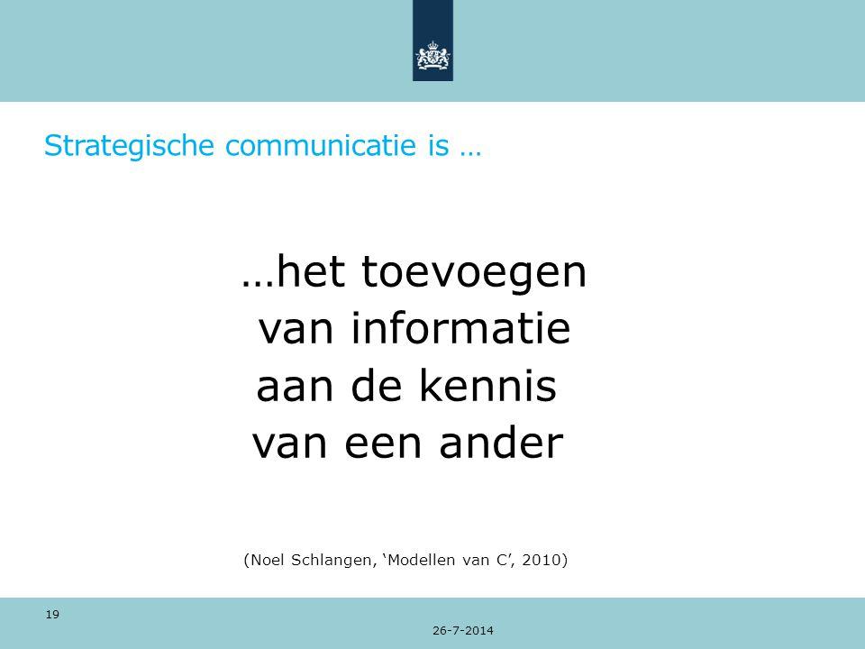 Strategische communicatie is … …het toevoegen van informatie aan de kennis van een ander (Noel Schlangen, 'Modellen van C', 2010) 26-7-2014 19