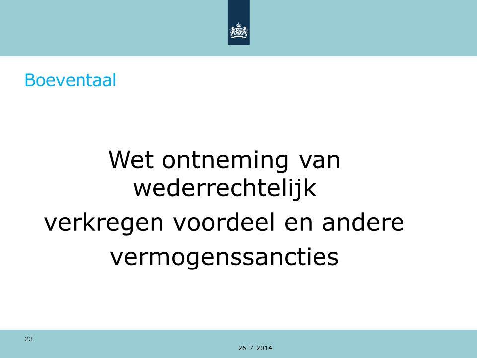 Boeventaal Wet ontneming van wederrechtelijk verkregen voordeel en andere vermogenssancties 26-7-2014 23