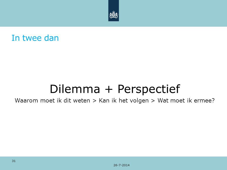 In twee dan Dilemma + Perspectief Waarom moet ik dit weten > Kan ik het volgen > Wat moet ik ermee.