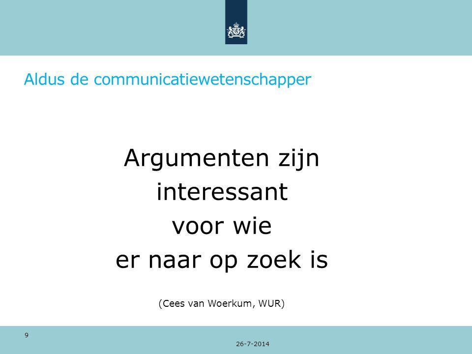 Aldus de communicatiewetenschapper Argumenten zijn interessant voor wie er naar op zoek is (Cees van Woerkum, WUR) 26-7-2014 9
