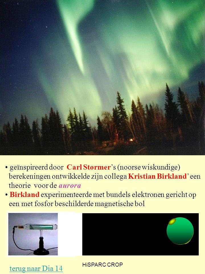 HiSPARC CROP geïnspireerd door Carl Størmer's (noorse wiskundige) berekeningen ontwikkelde zijn collega Kristian Birkland' een theorie voor de aurora Birkland experimenteerde met bundels elektronen gericht op een met fosfor beschilderde magnetische bol terug naar Dia 14