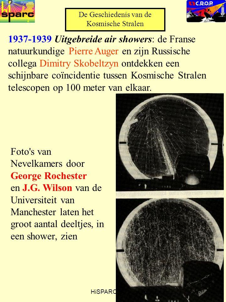 HiSPARC CROP 1937-1939 Uitgebreide air showers: de Franse natuurkundige Pierre Auger en zijn Russische collega Dimitry Skobeltzyn ontdekken een schijnbare coïncidentie tussen Kosmische Stralen telescopen op 100 meter van elkaar.