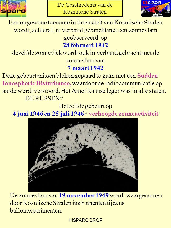 HiSPARC CROP Een ongewone toename in intensiteit van Kosmische Stralen wordt, achteraf, in verband gebracht met een zonnevlam geobserveerd op 28 februari 1942 dezelfde zonnevlek wordt ook in verband gebracht met de zonnevlam van 7 maart 1942 Deze gebeurtenissen bleken gepaard te gaan met een Sudden Ionospheric Disturbance, waardoor de radiocommunicatie op aarde wordt verstoord.