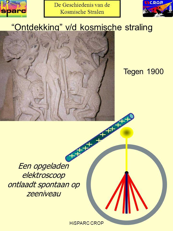 HiSPARC CROP Ontdekking v/d kosmische straling Een opgeladen elektroscoop ontlaadt spontaan op zeeniveau De Geschiedenis van de Kosmische Stralen Tegen 1900