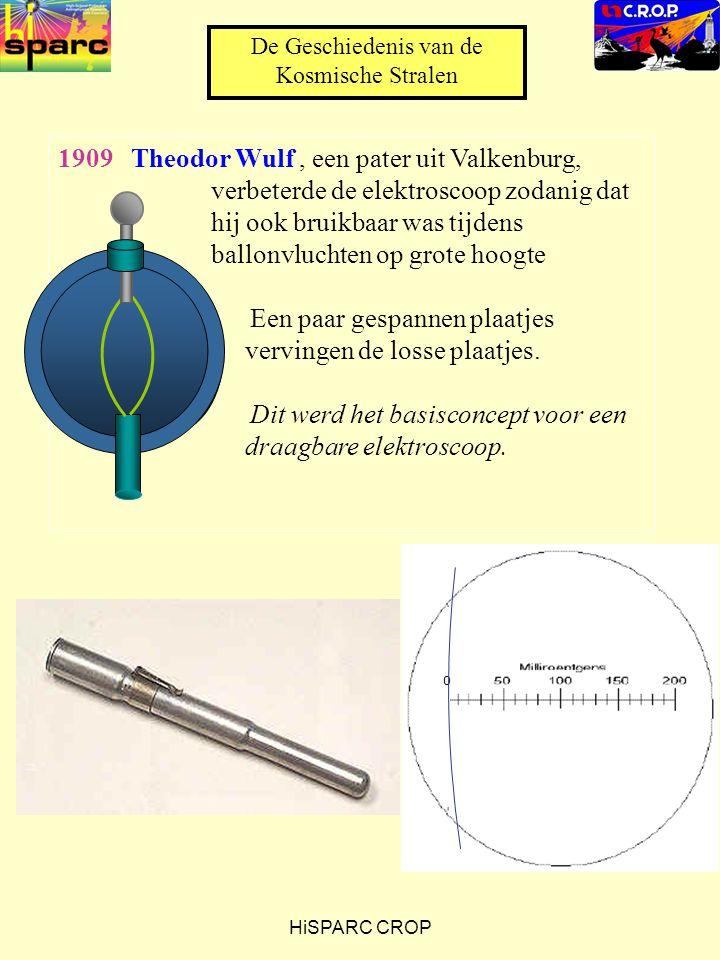 HiSPARC CROP 1909 Theodor Wulf, een pater uit Valkenburg, verbeterde de elektroscoop zodanig dat hij ook bruikbaar was tijdens ballonvluchten op grote hoogte Een paar gespannen plaatjes vervingen de losse plaatjes.