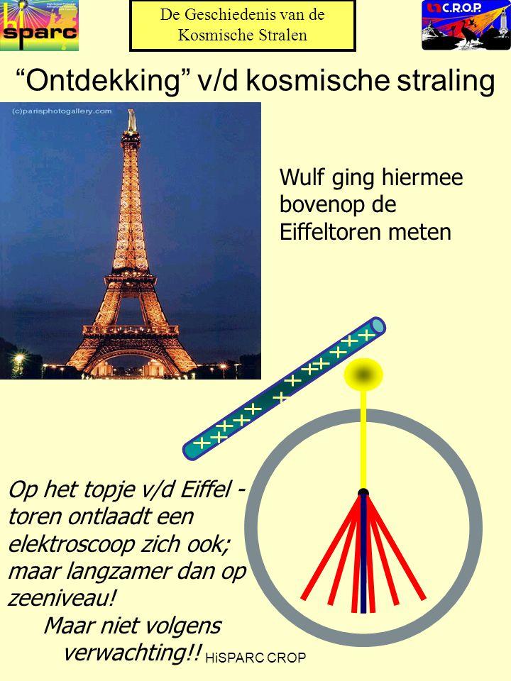 HiSPARC CROP Ontdekking v/d kosmische straling Op het topje v/d Eiffel - toren ontlaadt een elektroscoop zich ook; maar langzamer dan op zeeniveau.