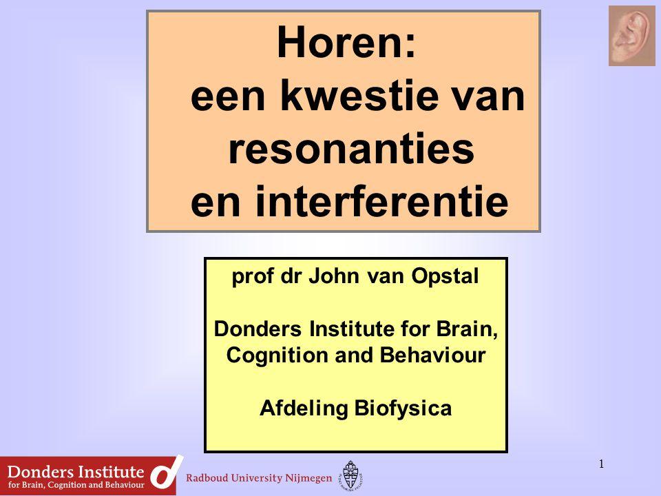 Horen: een kwestie van resonanties en interferentie prof dr John van Opstal Donders Institute for Brain, Cognition and Behaviour Afdeling Biofysica 1