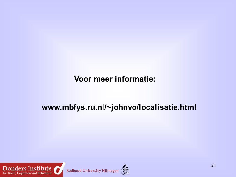 24 Voor meer informatie: www.mbfys.ru.nl/~johnvo/localisatie.html