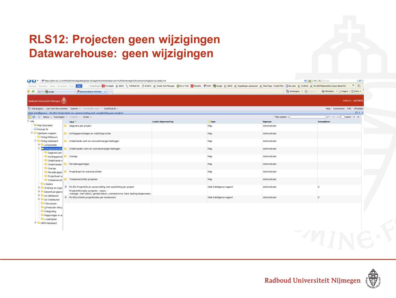 RLS12: Projecten geen wijzigingen Datawarehouse: geen wijzigingen