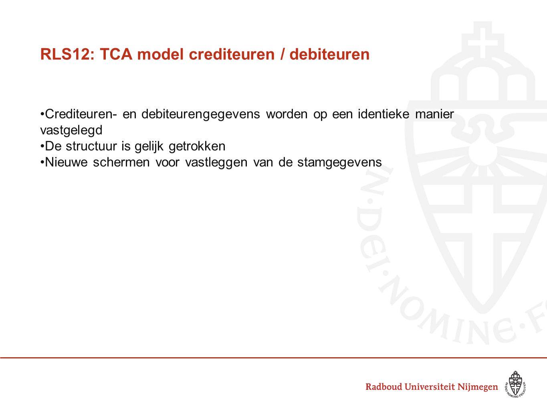 RLS12: TCA model crediteuren / debiteuren Crediteuren- en debiteurengegevens worden op een identieke manier vastgelegd De structuur is gelijk getrokke