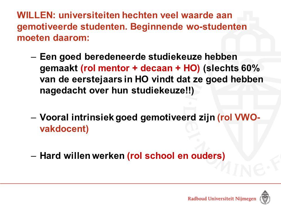 WILLEN: universiteiten hechten veel waarde aan gemotiveerde studenten. Beginnende wo-studenten moeten daarom: –Een goed beredeneerde studiekeuze hebbe