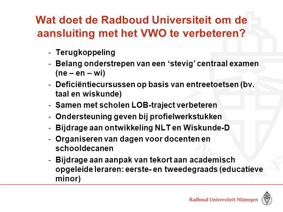 Wat doet de Radboud Universiteit om de aansluiting met het VWO te verbeteren? -Terugkoppeling -Belang onderstrepen van een 'stevig' centraal examen (n