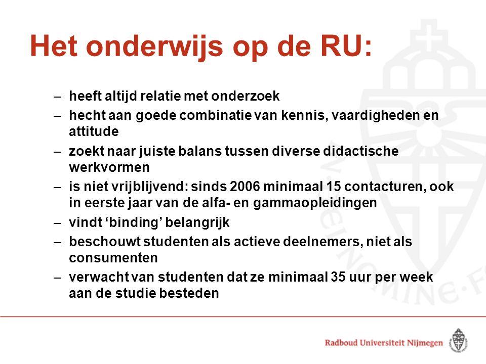 Het onderwijs op de RU: –heeft altijd relatie met onderzoek –hecht aan goede combinatie van kennis, vaardigheden en attitude –zoekt naar juiste balans