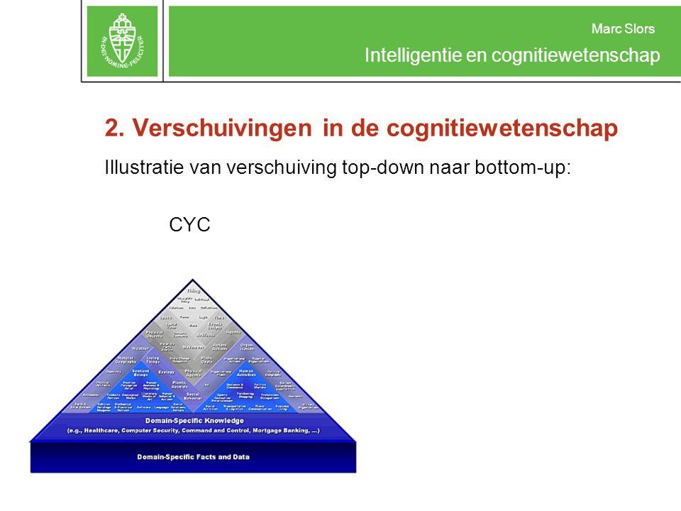 Marc Slors Intelligentie en cognitiewetenschap 2. Verschuivingen in de cognitiewetenschap Illustratie van verschuiving top-down naar bottom-up: CYC ve